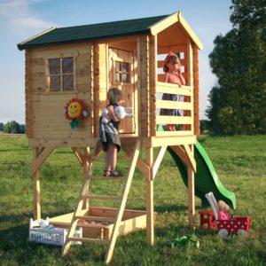 בית עץ לילדים M501d דגם כולל מגלשה