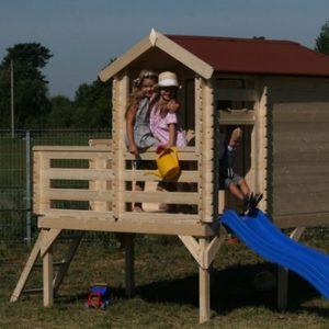 בית עץ לילדים M508 דגם כולל מגלשה